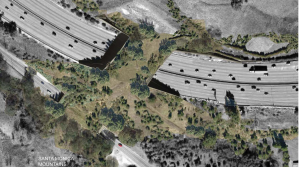 The conceptual drawing that would make a land bridge over 10 lanes of LA traffic.