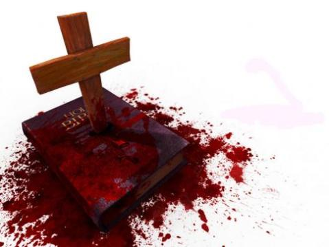 bible-cross-stabbing-bible-bloody-evil-cruel